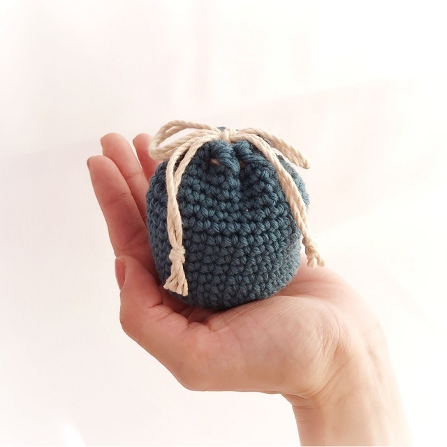 冬糸ころんと巾着*ブルー