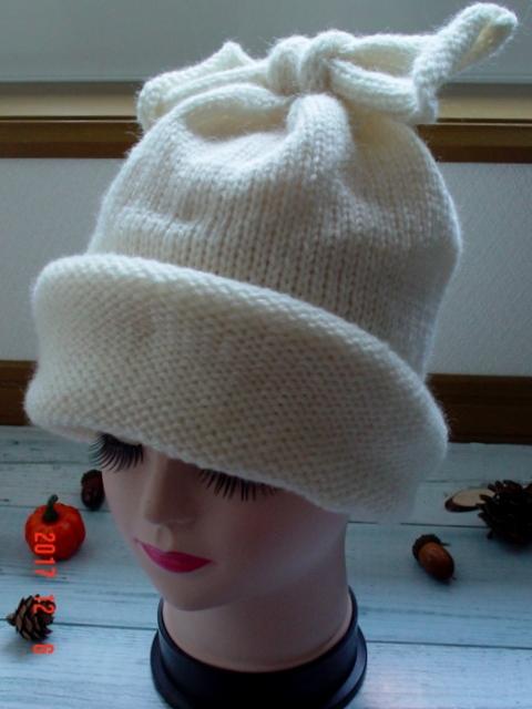 ☆彡リボン付きニット帽子