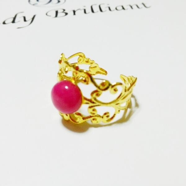 翡翠(ピンク)のリング フリーサイズ(1...
