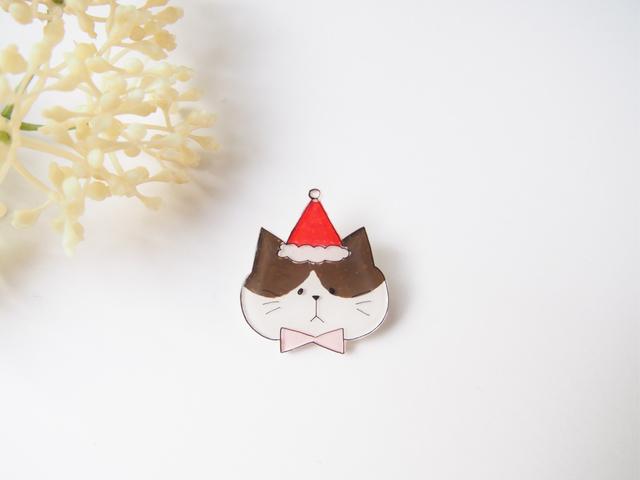 ミニねこブローチ /クリスマスver.(茶は...