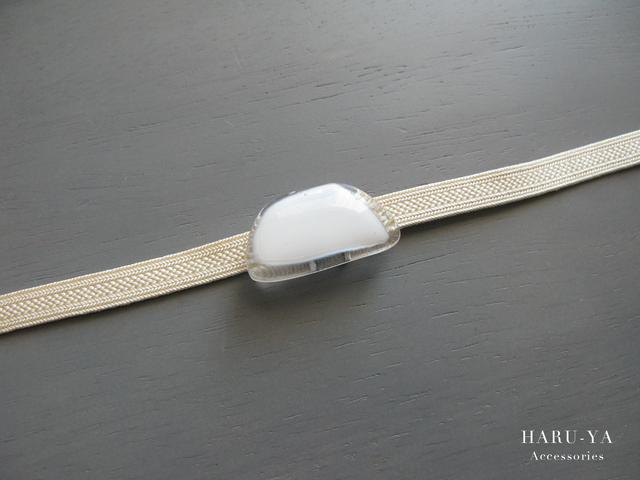 帯留め ガラス*白×透明 3