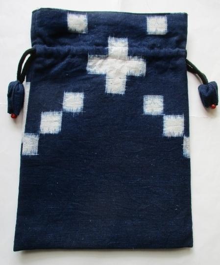 送料無料 久留米の絵絣で作った巾着袋...