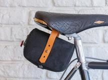 Leather saddle bag ( black )