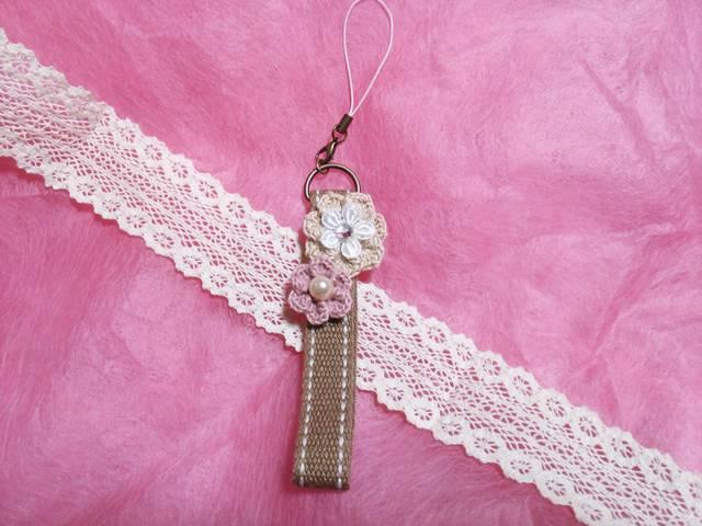 【ハピ☆デコ】手編み花のストラップ