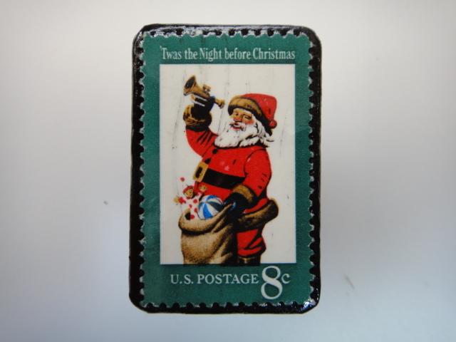 アメリカ クリスマス切手ブローチ 3180