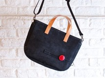 Leather cycle tote bag ( black )