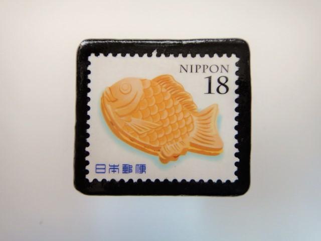 日本 たいやき切手ブローチ 3182