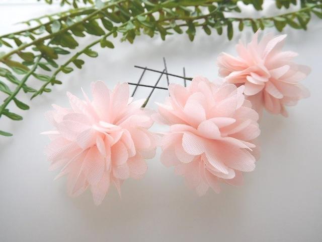 ピンク*レース小花のUピン*3本セット