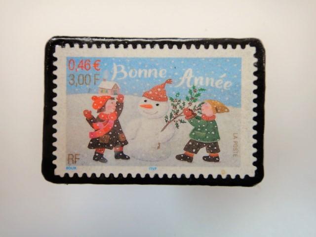 フランス クリスマス切手ブローチ3184