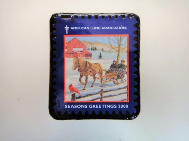 アメリカ クリスマス切手ブローチ3187