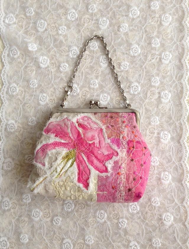 薔薇のがまぐちバッグ