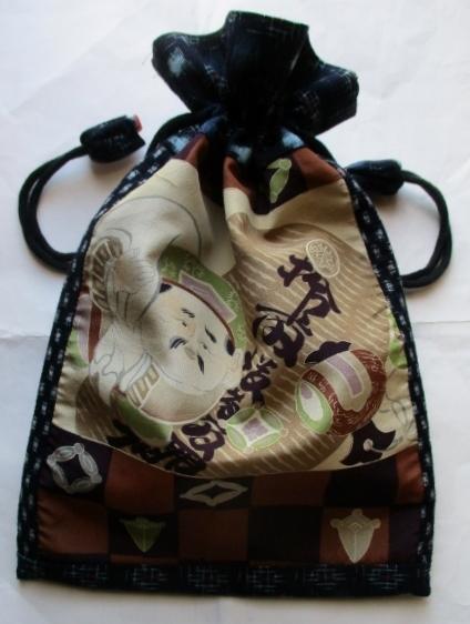 送料無料  絣で作った巾着袋 3159