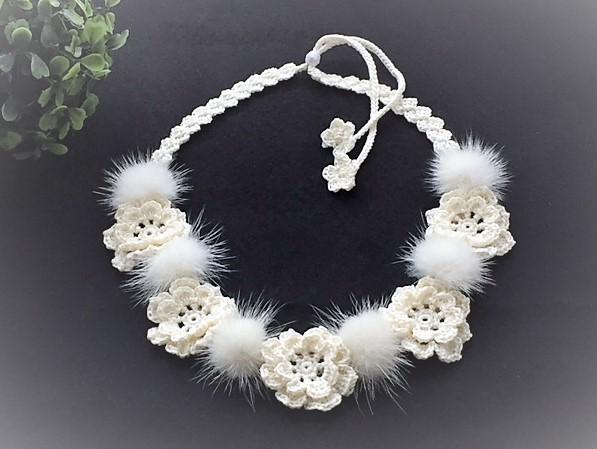 ♪バニラホワイト ミンクファーとお花...