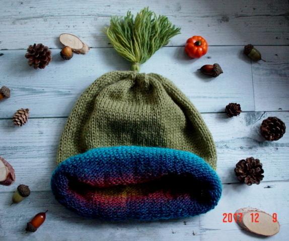 ☆彡揺れるタッセル付knit帽子(rainbow...