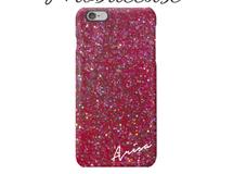 【名入れ可能】ピンク ラメ柄スマホケース?iPhone以外も対応機種多数あり♪