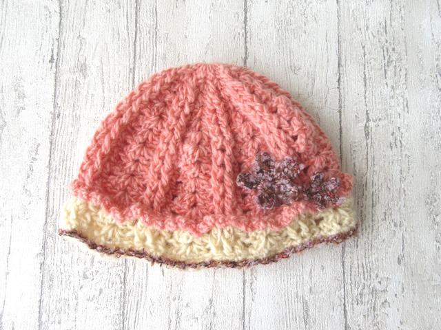 お花付きフリルの帽子 45〜50cm