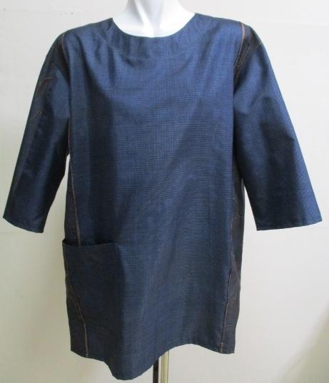 送料無料 藍大島紬で作ったプルーオー...