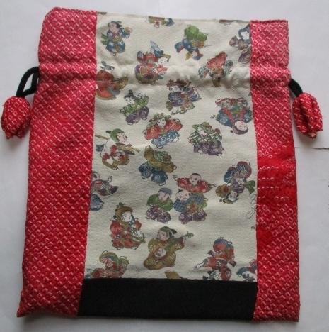 送料無料 絞りと縮緬の着物で作った巾...