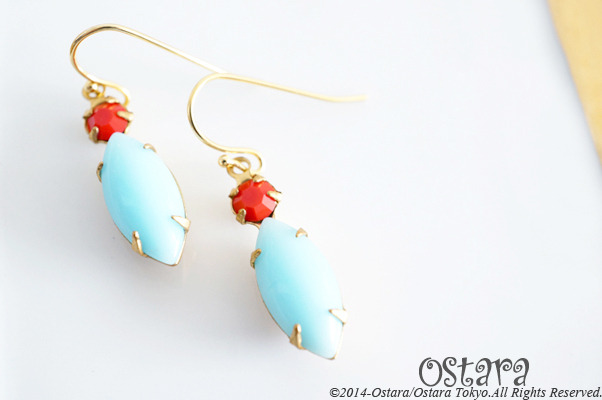 Rock Candy Earrings/Milky Blue&Red