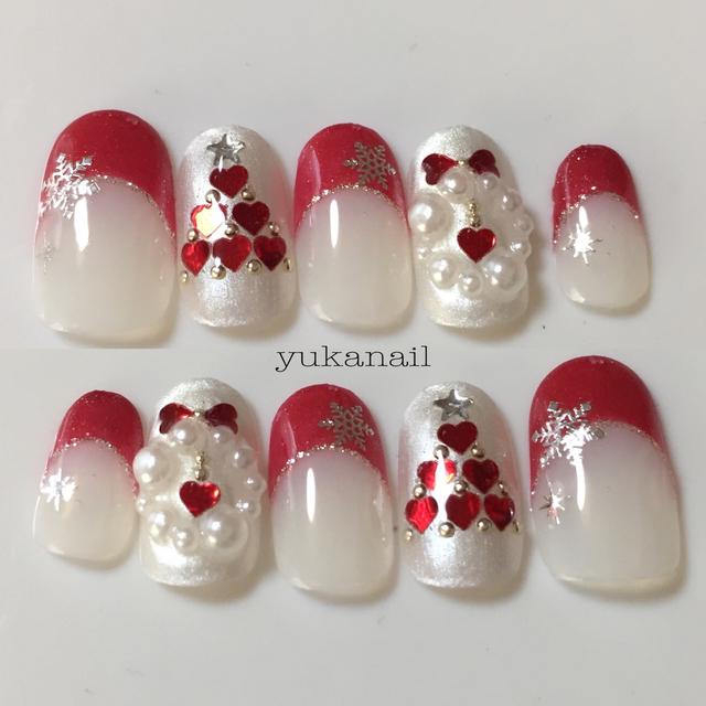 赤フレンチ ハートツリー クリスマスネイル