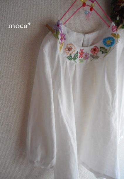 【受注製作】フレンチリネン襟ぐり刺繍...