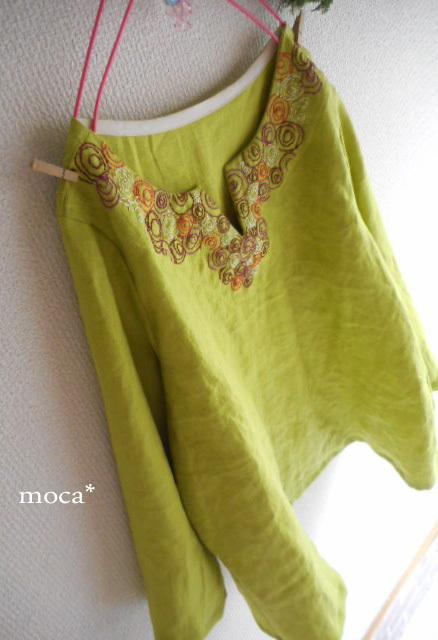 【受注製作】リネンフロント刺繍8分袖...