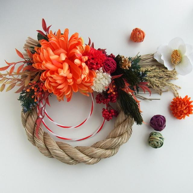 てまり菊と紅白ポンポンマム お正月飾り