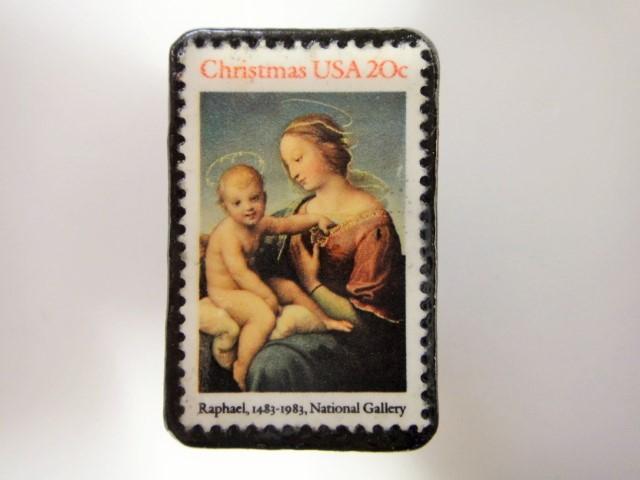 アメリカ クリスマス切手ブローチ 3192