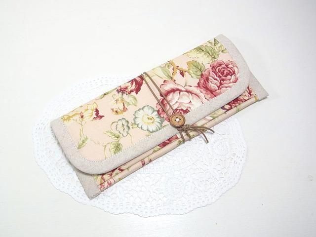 ぺたんこ長財布 「ピンクのローズガーデン」
