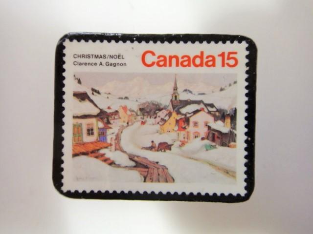 アメリカ クリスマス切手ブローチ 3194