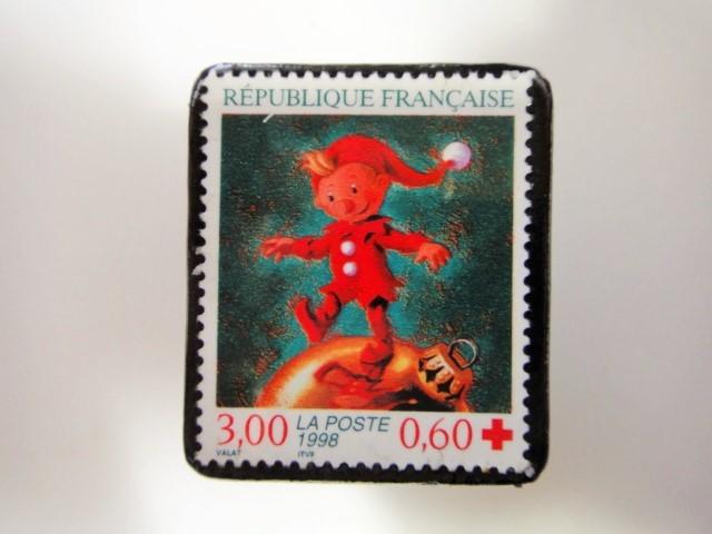 フランス クリスマス切手ブローチ 3195