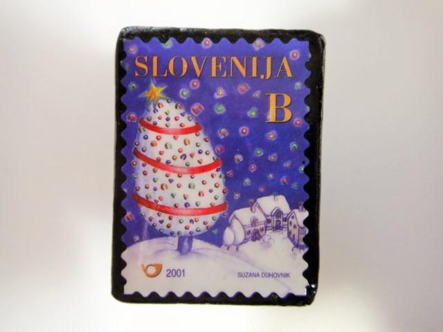 スロベニア クリスマス切手ブローチ 3196