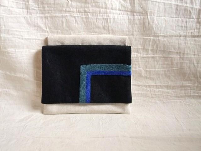 itoiro mini w-pouch (black-blue)