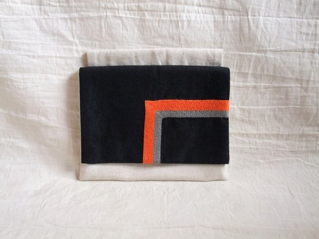 itoiro mini w-pouch (black-orange)