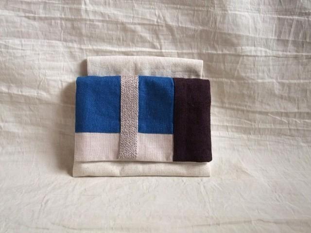 itoiro minimini  w-pouch (blue gray)