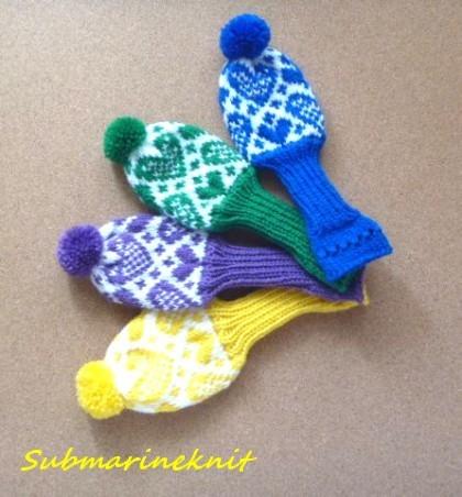 ハート柄手編みヘッドカバー