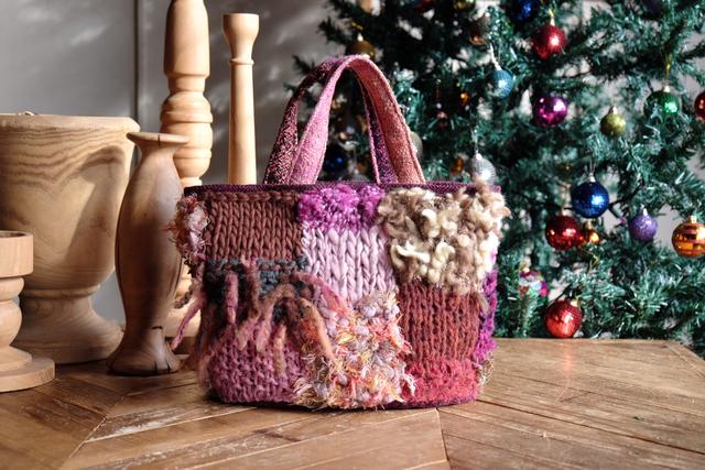 Knit -bag ニットトートバッグ  ピン...