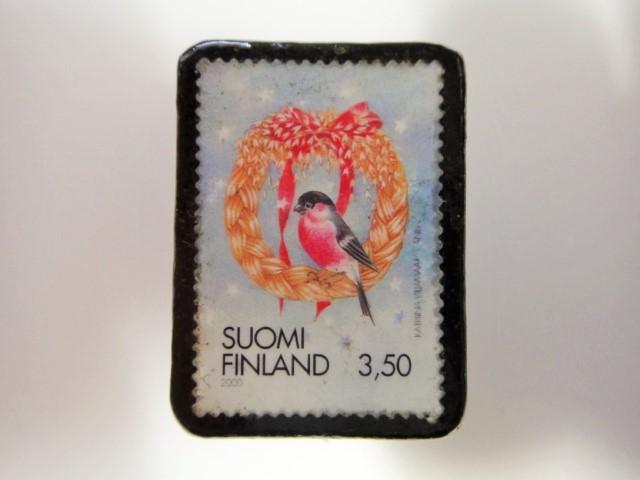 フィンランド クリスマス切手ブローチ ...