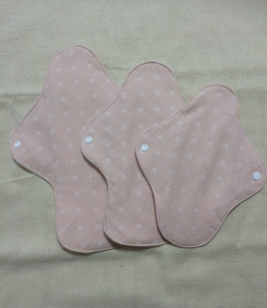 ふんわり布ナプキンSML 3枚セット(シリーズ♪水玉 ピンク)
