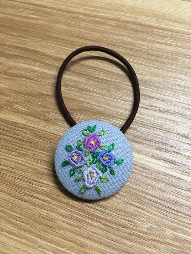 再販なし!刺繍ヘアゴム 紫系4色薔薇