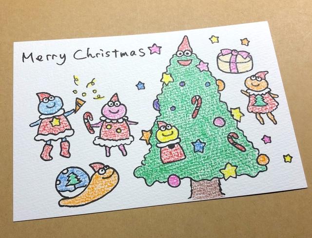 手描きクリスマスカード 色鉛筆 パーティ ハンドメイドマーケット Minne