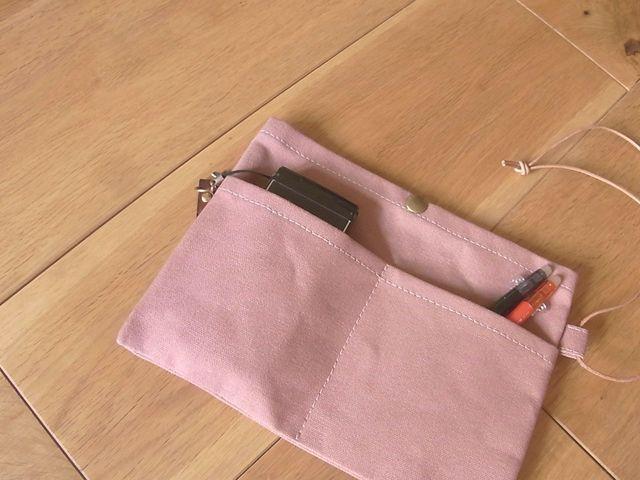 【再販なし】パラフィン帆布のバッグインバッグ 灰薔薇