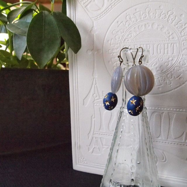 Star and stone earrings