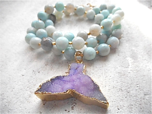 Druzy Whale Tale Agate Ocean Necklace/Bracelet (2way)