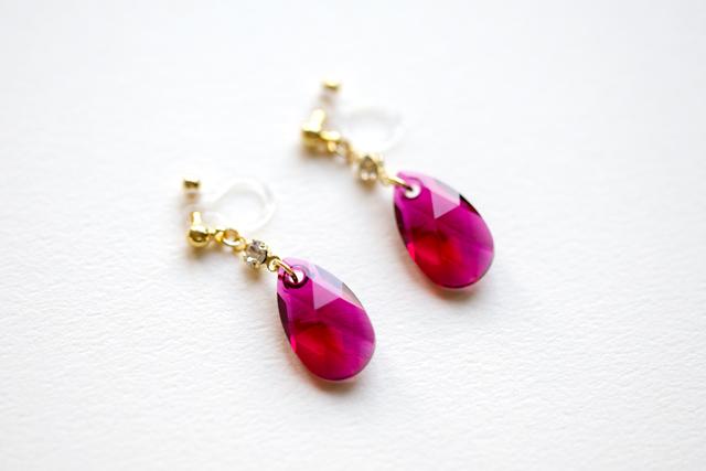 赤紫蘇 樹脂ノンホールピアス