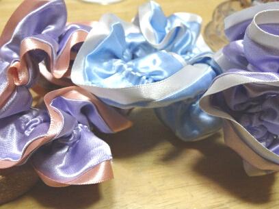 サテンシュシュ*Lavender&Pink(ゴールドチャーム付)