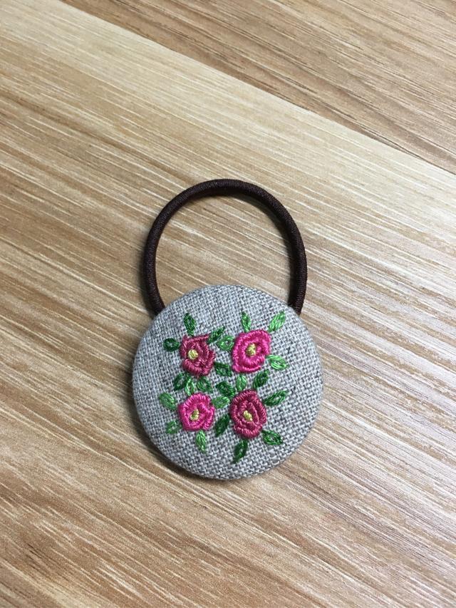 再販なし!刺繍ヘアゴム  ピンク系2色薔薇