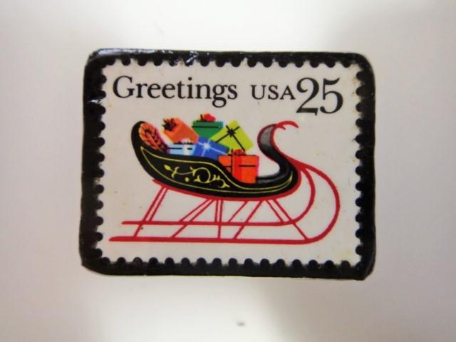 アメリカ クリスマス切手ブローチ3199