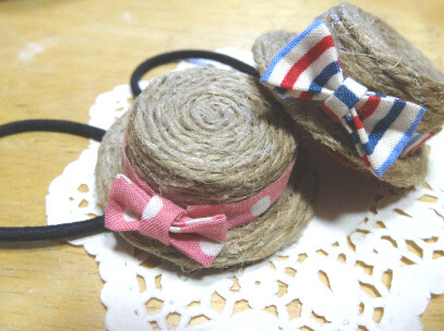 【送料込み】麦わら帽子のヘアゴム*Pink