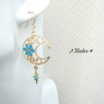 Floral*moon&star*ピアス